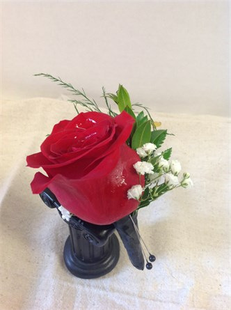 Traditional Red Boutonniere#126
