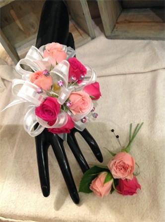 Passion Pink Corsage & Matching Boutonniere #140