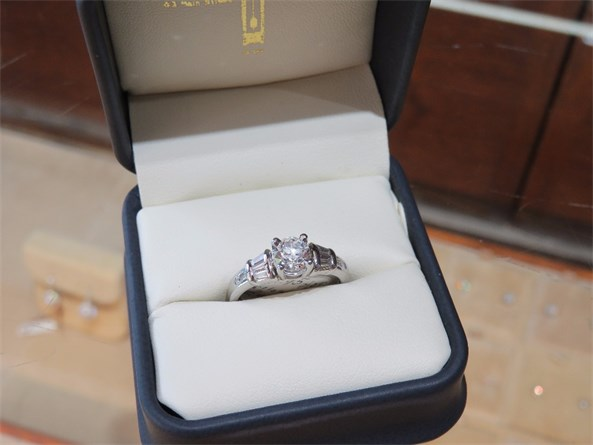Platinum Round and Baguette Diamond Ring
