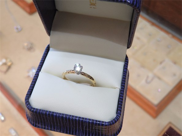 Jabel Carved Solitaire Diamond Ring