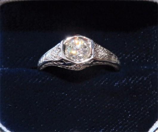 Vintage Style Diamond Filigree Ring
