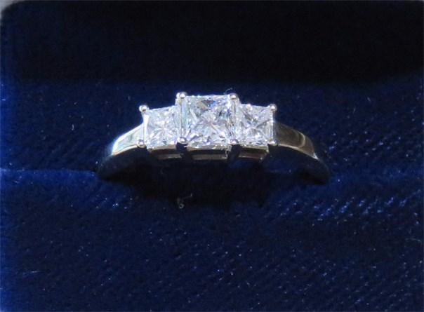 Princess Diamond Three Stone Ring