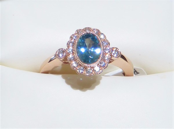 Oval Blue Zircon and Diamond Ring