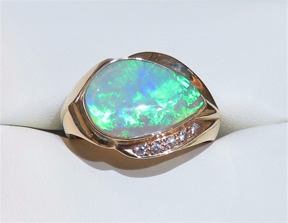 Large Austrailian Opal and Diamond Ring