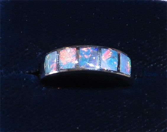 Burnished set Multi Opal Band