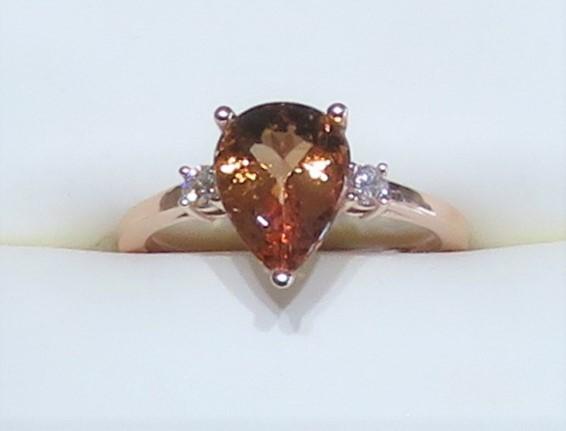 Pear Shape Topaz and Diamond Ring