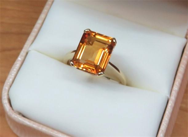 Large Emerald cut Citrine Ring