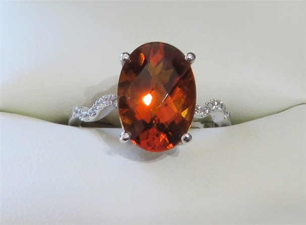 Large Deep Oval Citrine and Diamond Ring