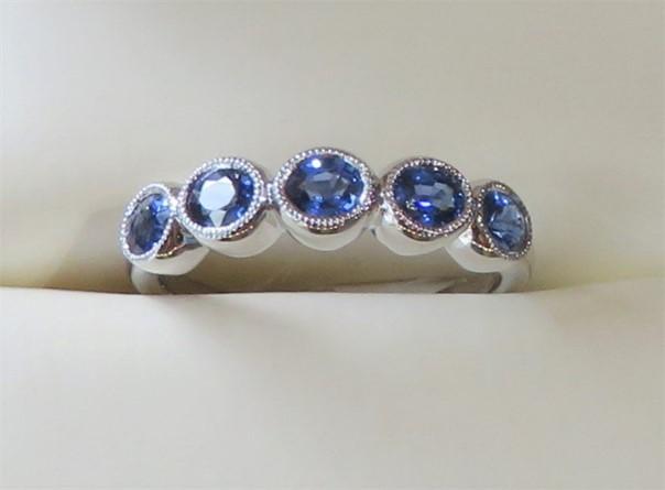 Blue Sapphire Five Stone Band