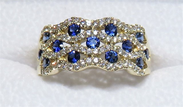 Wide Sapphire and Diamond Ring