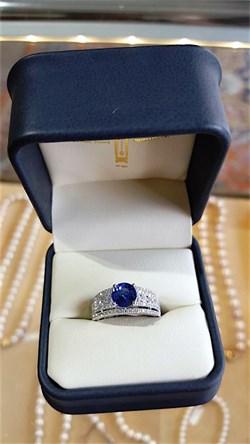Multi-Row Diamond and Tanzanite Ring