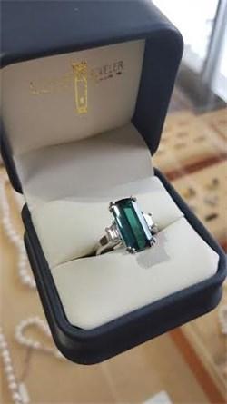 Large Emerald Cut Tourmaline and Diamond Ring
