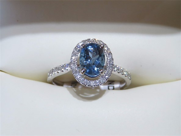 Oval Aquamarine Halo Diamond RIng