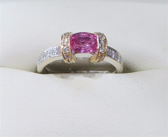 Oval Pink Sapphire and Diamond Ring