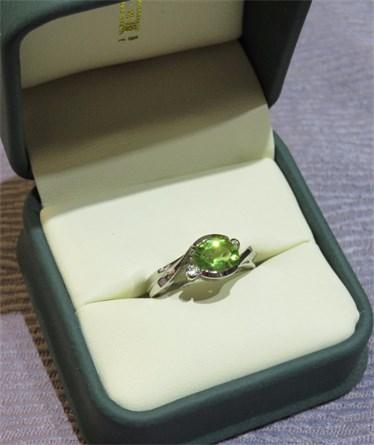 Oval Peridot and Diamond Ring