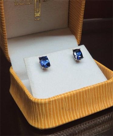 Beautiful Ceylon Blue Sapphire Studs.