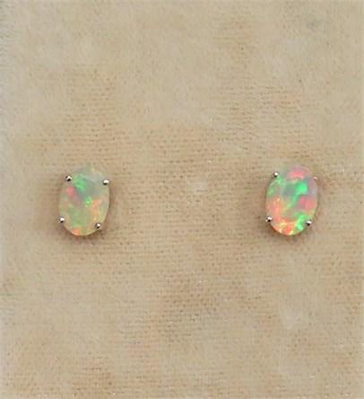 Oval Nigerian Opal Earrings