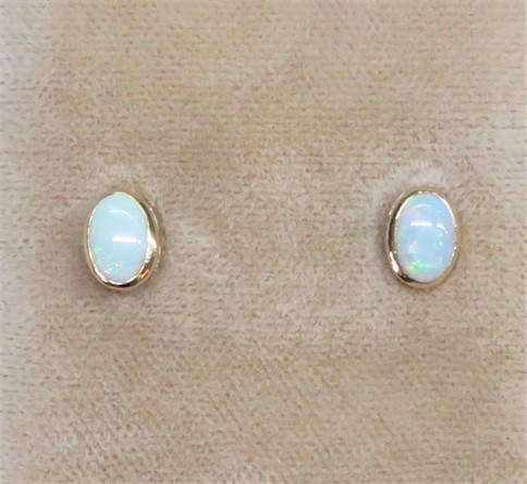 Oval Bezel Set Opal Earrings