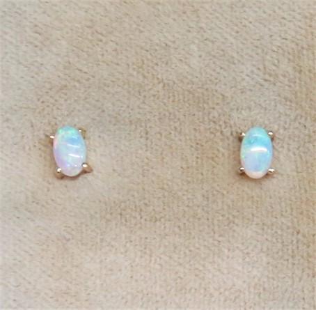 Oval Opal Earrings