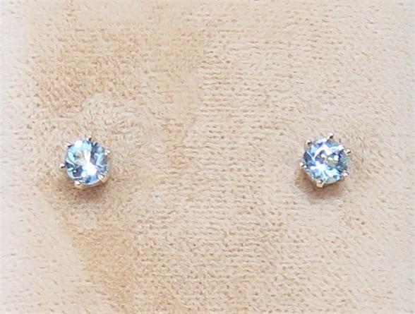 Round Aqumarine Stud Earrings