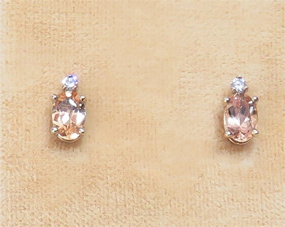 Oval Topaz and Diamond Stud Earrings