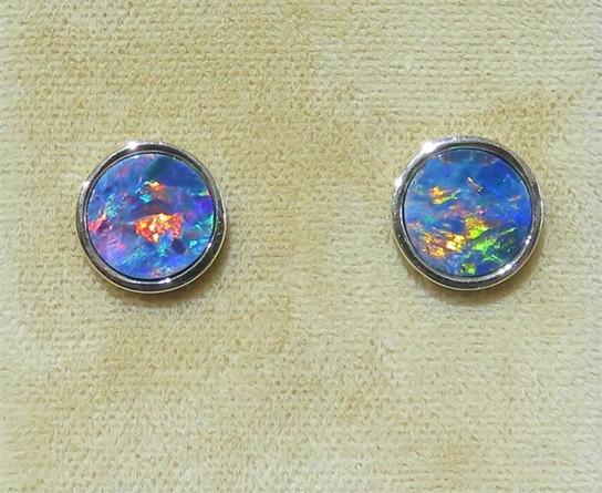 Bezel Set Australian Opal Studs.