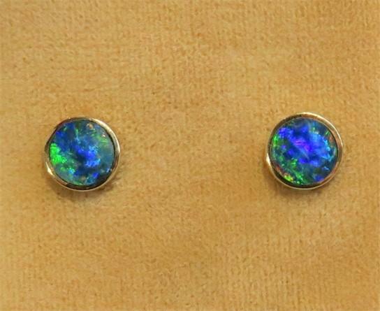Bezel Set Australian Opal Studs
