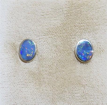 Bezel Set Oval Opal Studs