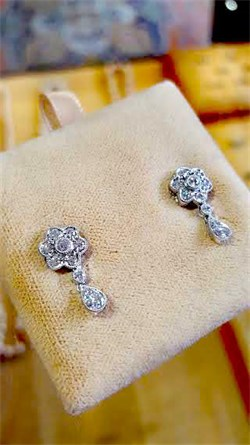 Diamond Cluster Dangle Earrings