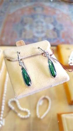 Blue-Green Tourmaline and Diamond Dangle Earrings