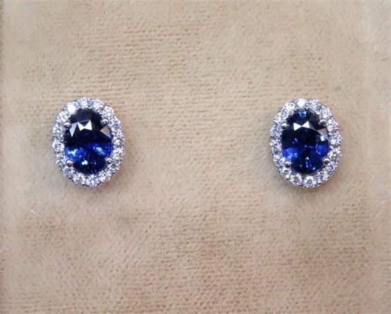 Oval Ceylon Sapphire and Diamond Halo Earrings