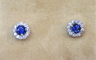 Round Blue Sapphire and Diamond Halo Earrings