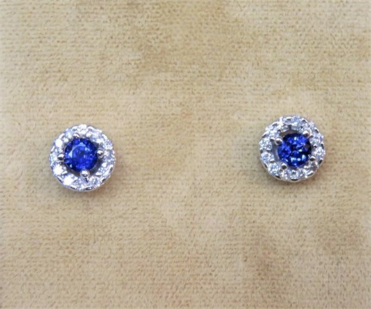 Round Blue Sapphire and Diamond Halo Earrings
