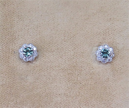 Round Alexandrite and Diamond Halo Earrings