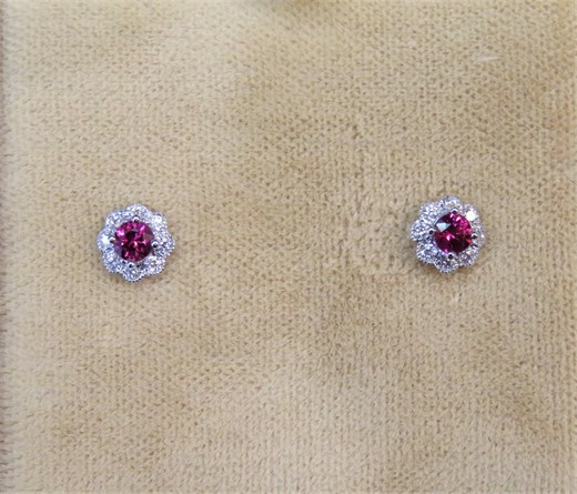 Round Ruby and Diamond Halo Earrings