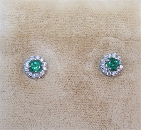 Round Emerald and Diamond Halo Earrings