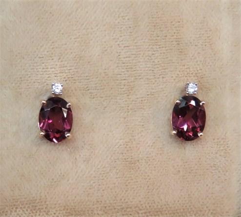 Rhodolite Garnet and Diamond Earrings