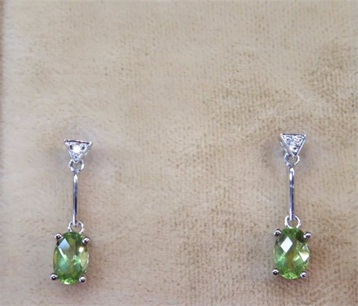 Oval Peridot and Diamond Earrings