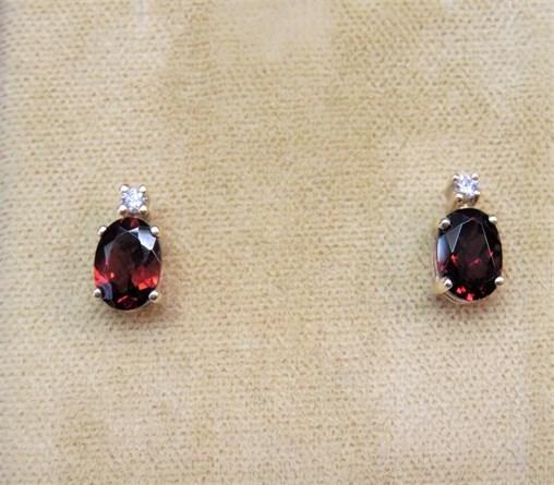 Oval Garnet and Diamond Earrings
