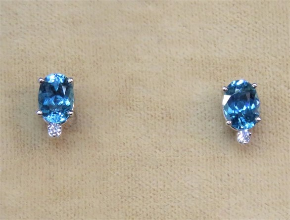 Oval Blue Zircon and Diamond Earrings