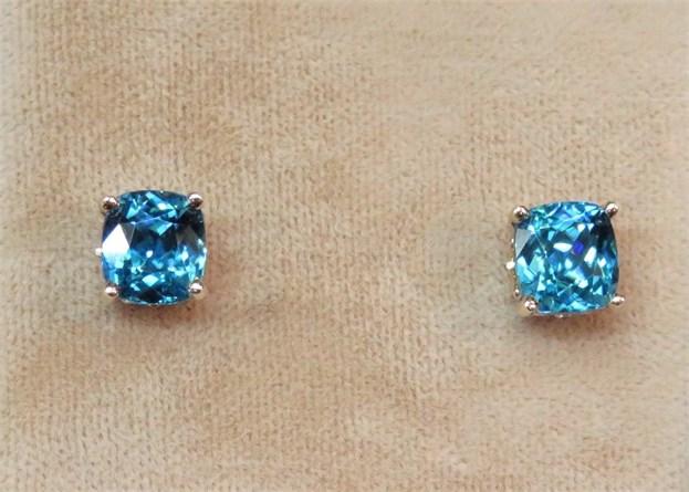 Cushion Cut Blue Zircon Earrings