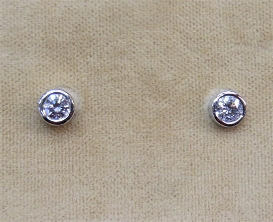 Round Bezel Set Diamond Stud Earrings