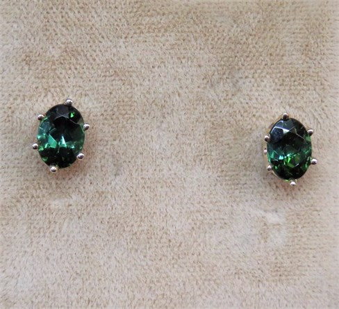 Oval Green Maine Tourmaline Earrings