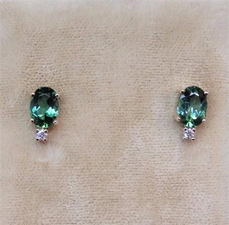 Oval Green Maine Tourmaline and Diamond Earrings