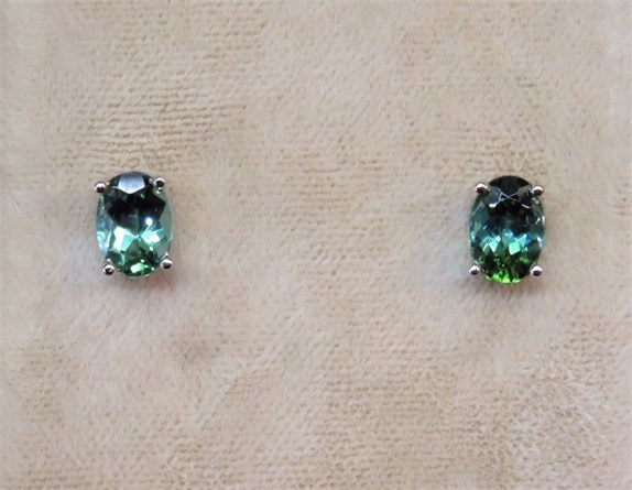Oval Green Maine Tourmaline Stud Earrings