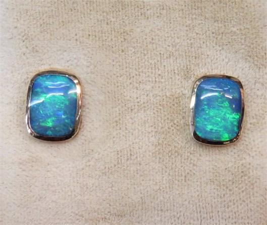 Beautiful Bezel Set Australian Opal Earrings