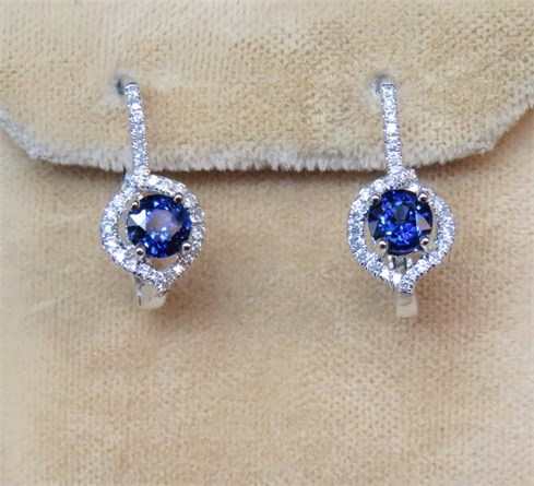 Ceylon Sapphire and Diamond Dangle Earrings