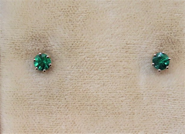 Round Emerald Stud Earrings