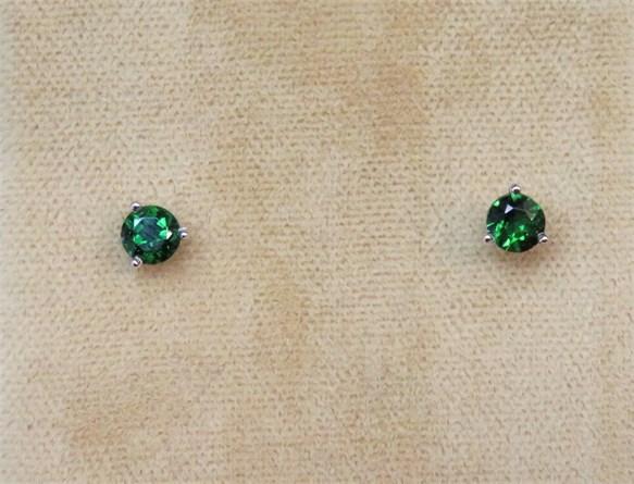Round Green Tsavorite Garnet Stud Earrings