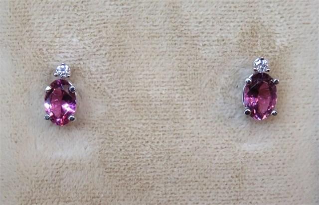 Oval Pink Maine Tourmaline and Diamond Stud Earrings